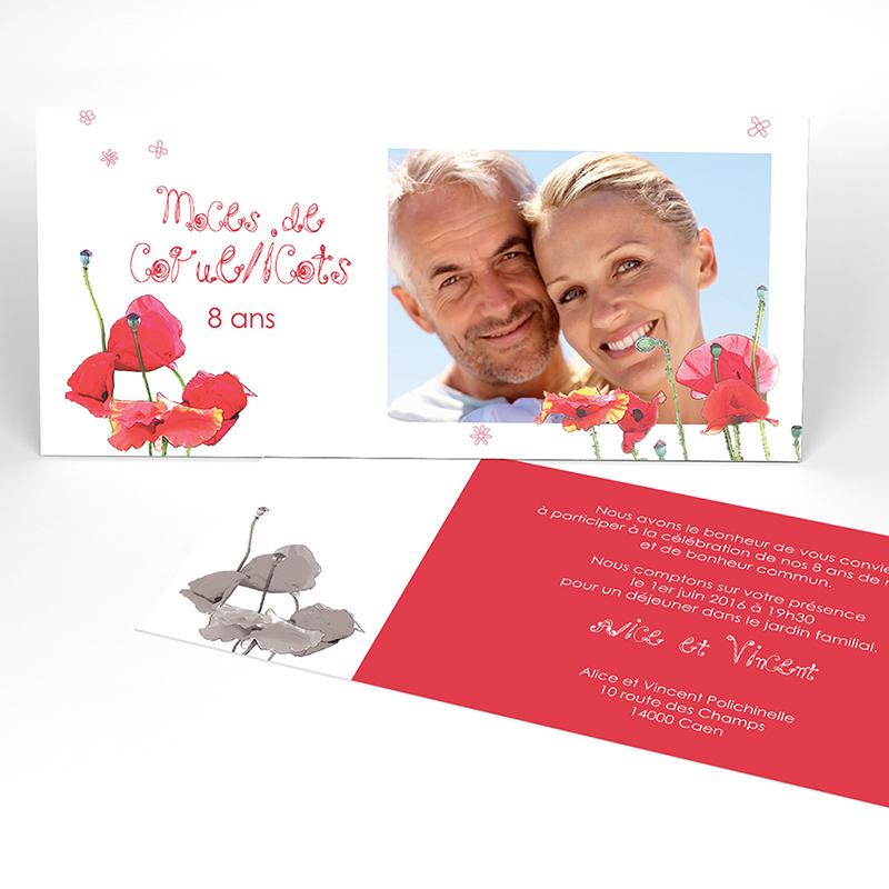 Carte anniversaire de mariage Coquelicots