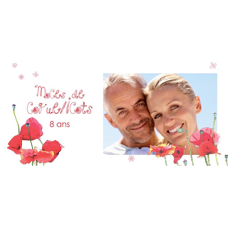 Carte anniversaire de mariage Coquelicots  pas cher