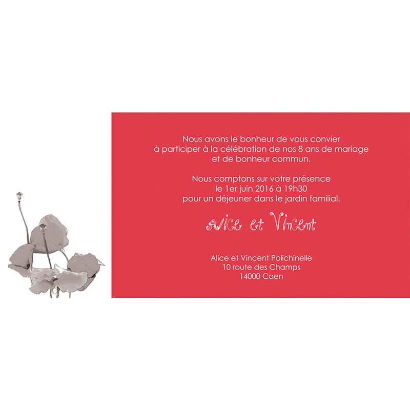 Carte anniversaire de mariage Coquelicots  gratuit
