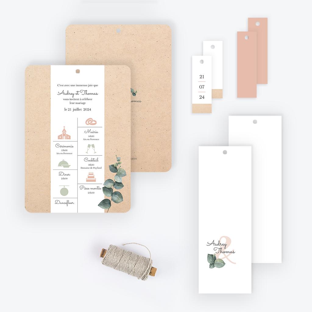 Faire-part de mariage Liège d'Eucalyptus gratuit