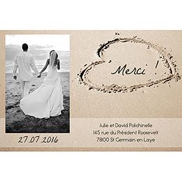 Carte de remerciement mariage La Plage  pas cher