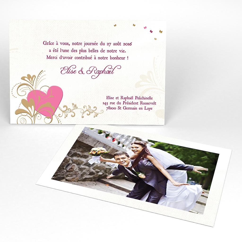 Carte de remerciement mariage Certitude