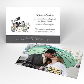 Carte de remerciement mariage Sidecar