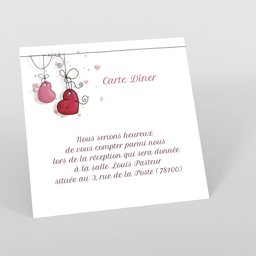 Carte d'invitation mariage Les Coeurs coeur