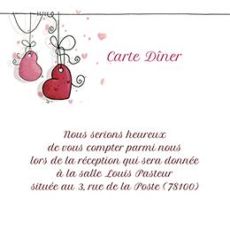Carte d'invitation mariage Les Coeurs coeur pas cher