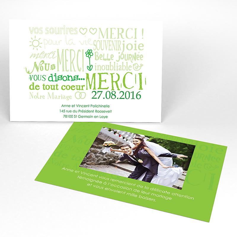 Carte de remerciement mariage Jeu de mots vert