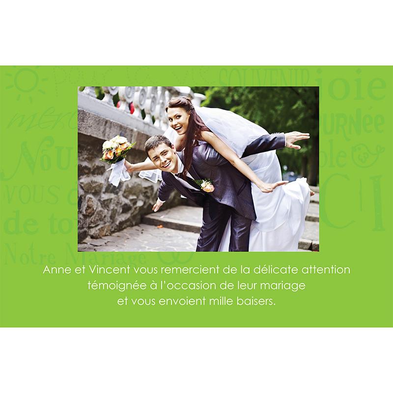 Carte de remerciement mariage Jeu de mots vert gratuit