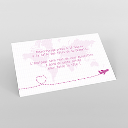 Carte d'invitation mariage Voyage rose
