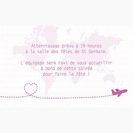 Carte d'invitation mariage Voyage rose pas cher