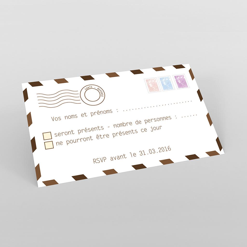 Carton réponse mariage Voyage chocolat