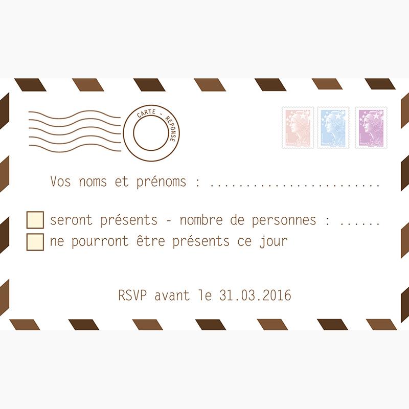 Carton réponse mariage Voyage chocolat pas cher