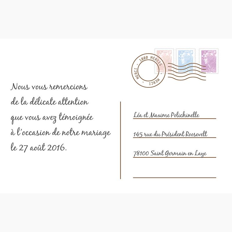Carte de remerciement mariage Voyage chocolat gratuit