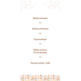 Menu mariage Oriental  gratuit