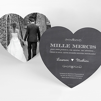 Carte de remerciement mariage Wedding cake ardoise