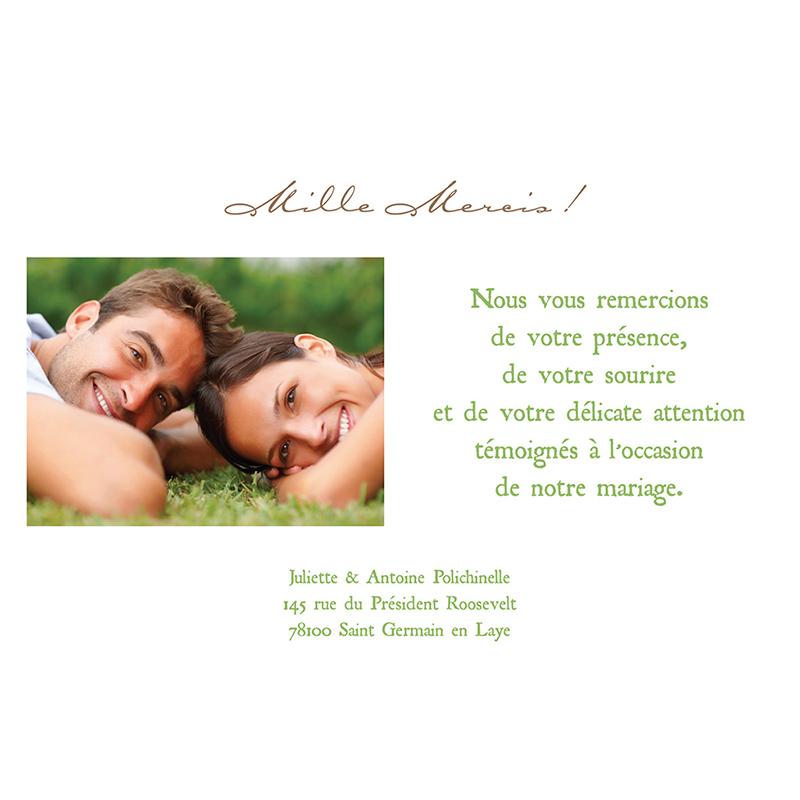 Carte de remerciement mariage Nature  gratuit