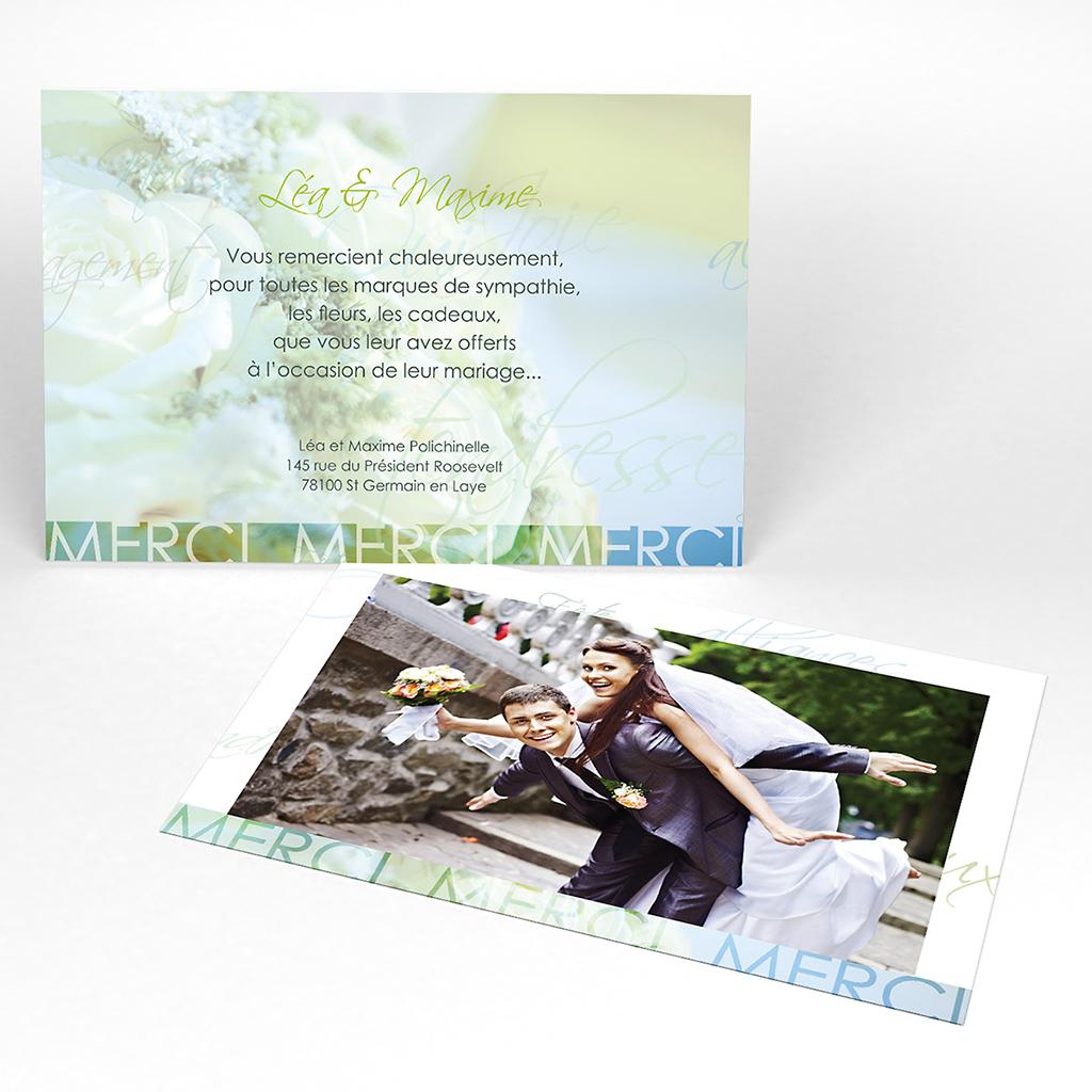 Carte de remerciement mariage Florilège vert