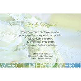 Carte de remerciement mariage Florilège vert pas cher