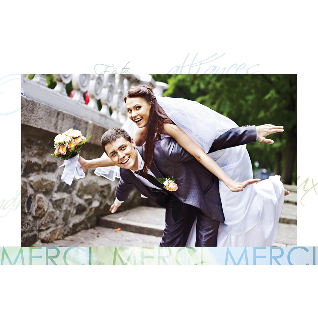 Carte de remerciement mariage Florilège vert gratuit