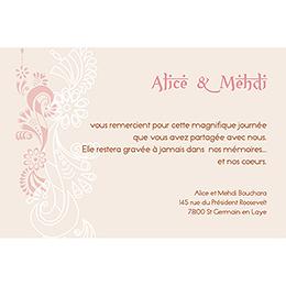Carte de remerciement mariage Oriental  gratuit