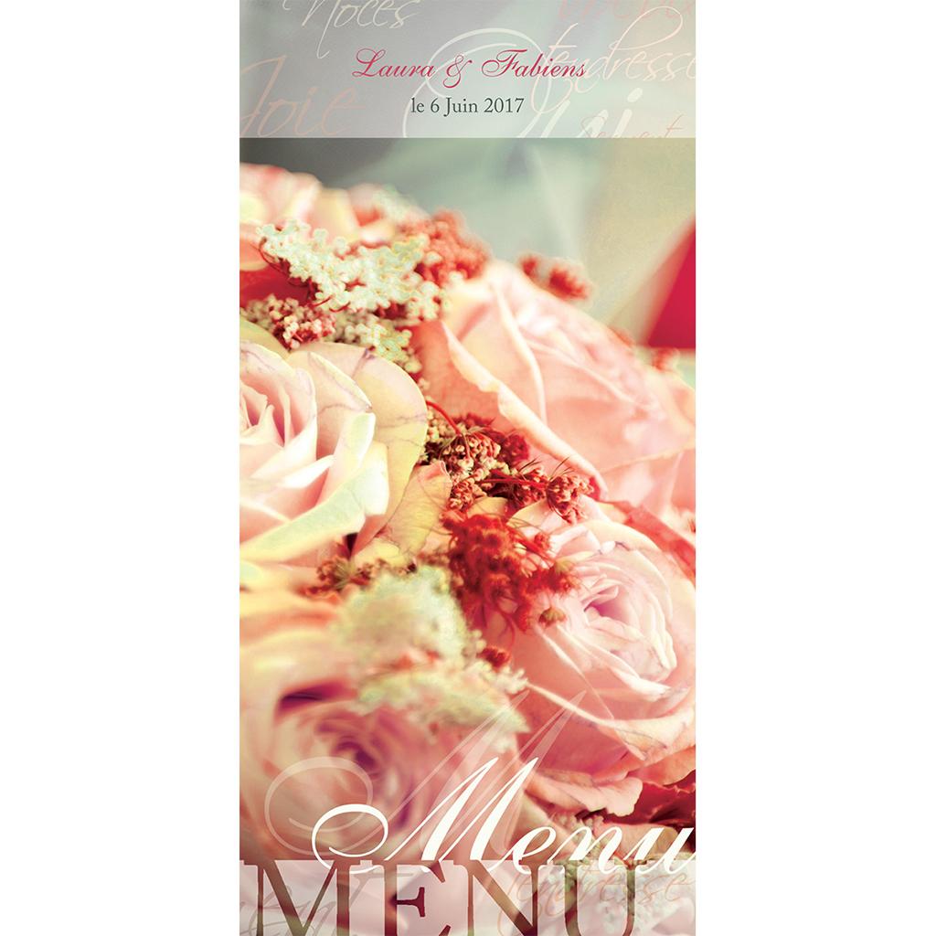 Menu mariage Florilège rose  pas cher