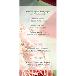 Menu mariage Florilège rose  gratuit