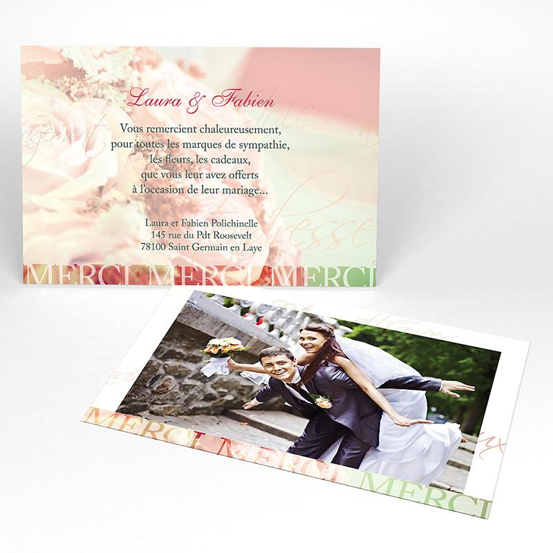 Carte de remerciement mariage Florilège rose