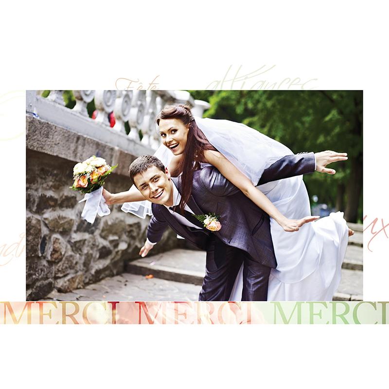 Carte de remerciement mariage Florilège rose  gratuit