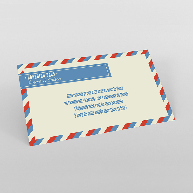 Carte d'invitation mariage Airlines