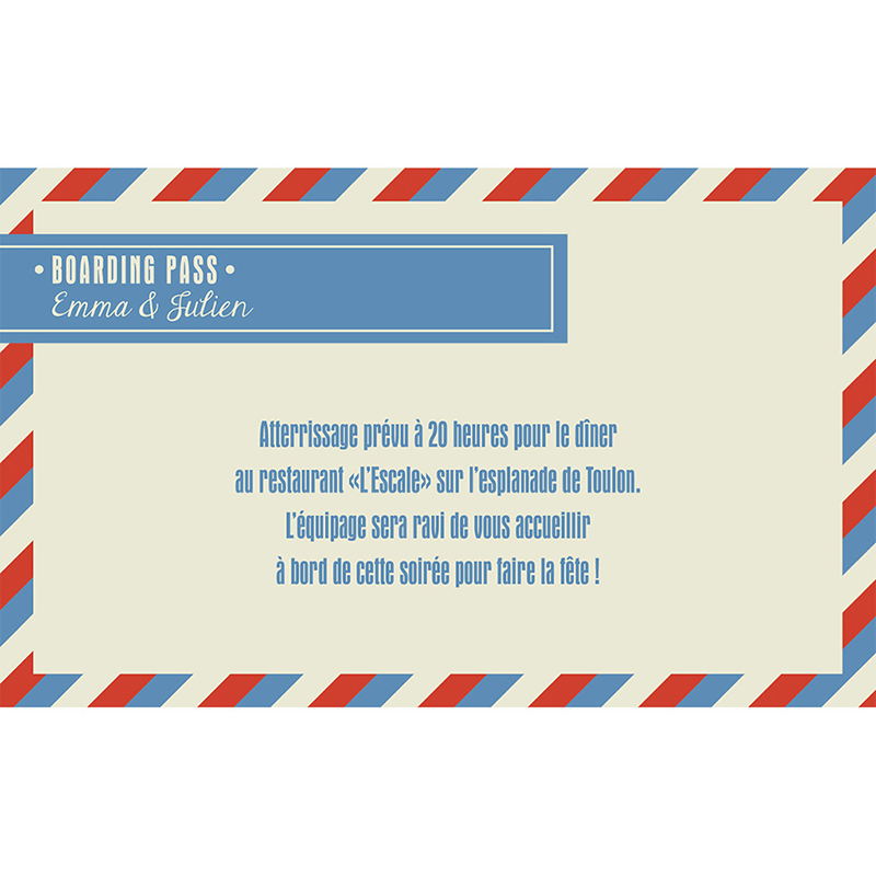 Carte d'invitation mariage Airlines  pas cher