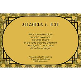 Carte de remerciement mariage Mariage années folles noir pas cher