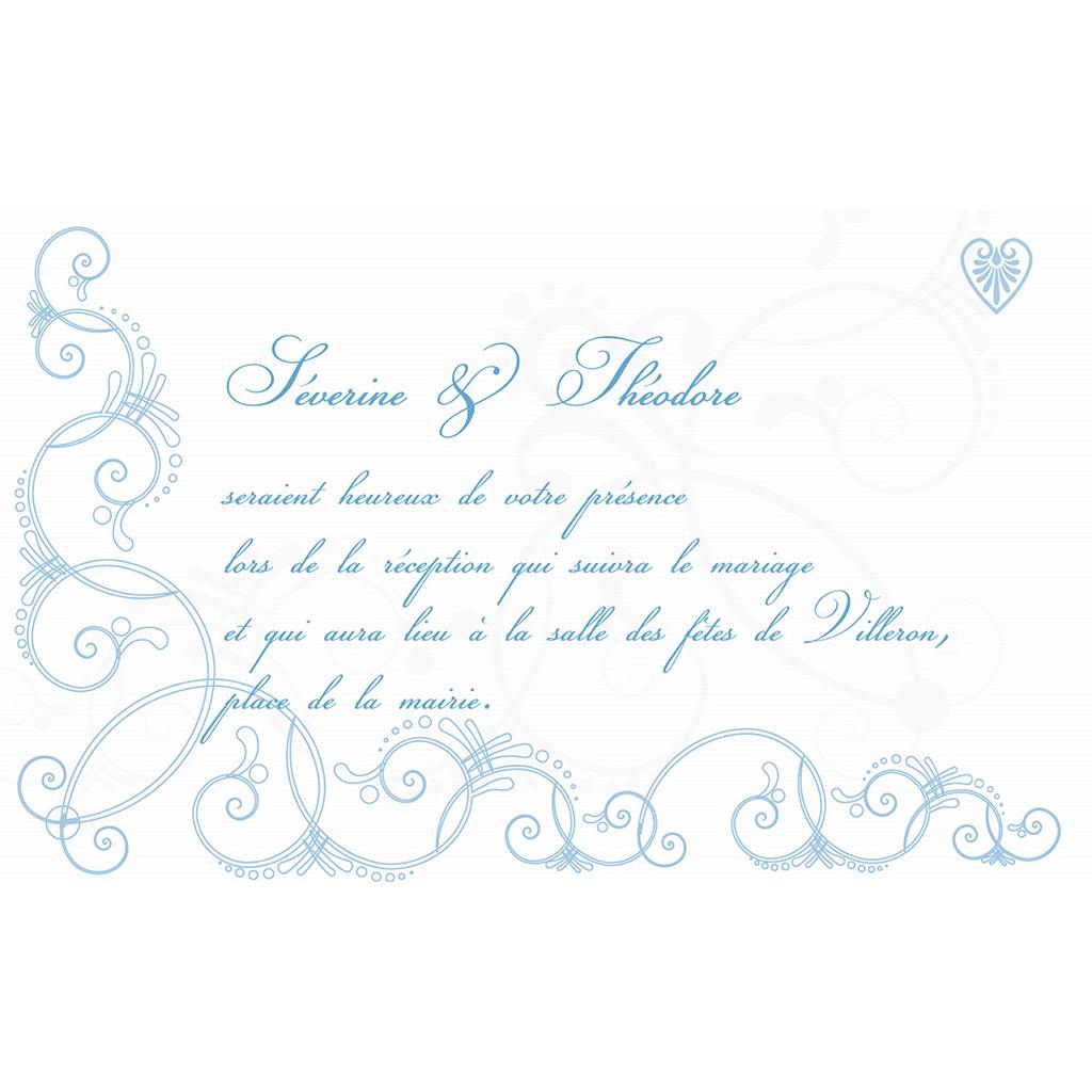 Carte d'invitation mariage Céleste  pas cher