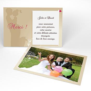 Carte de remerciement mariage Youpi sans enfant