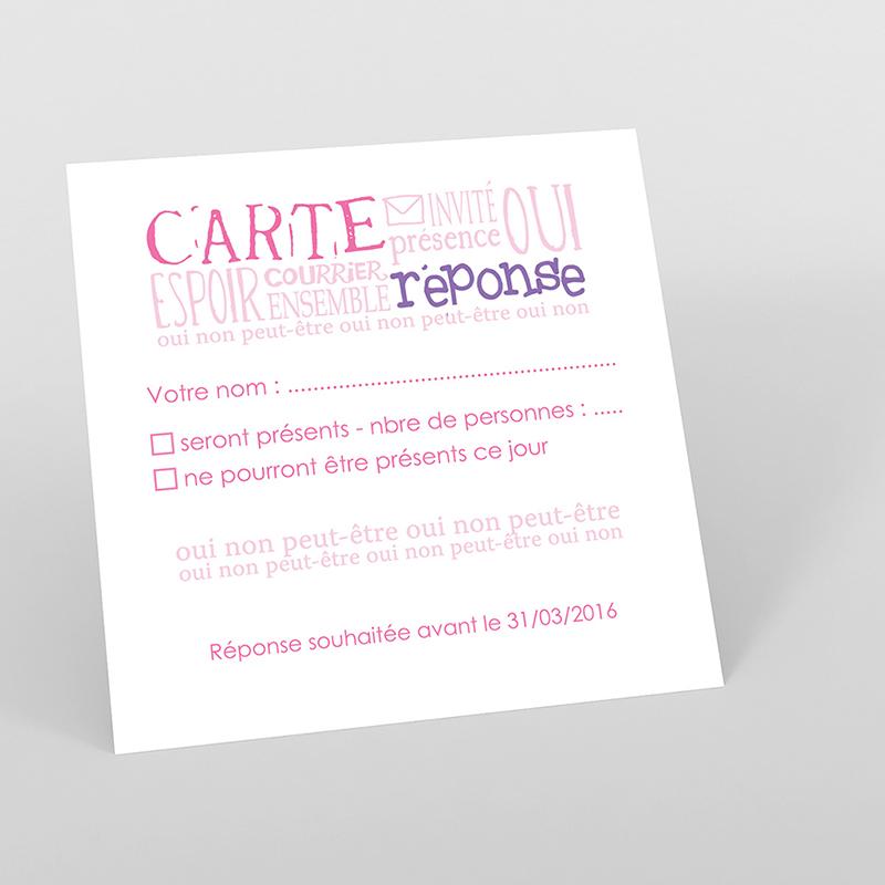 Carton réponse mariage Jeu de mots rose