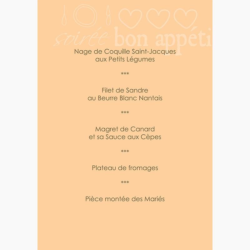 Menu mariage Jeu de mots chocolat