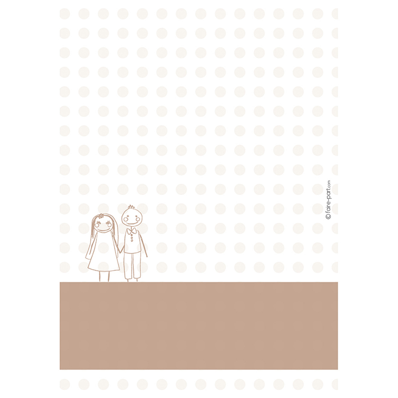 Menu mariage Mots d'enfant beige