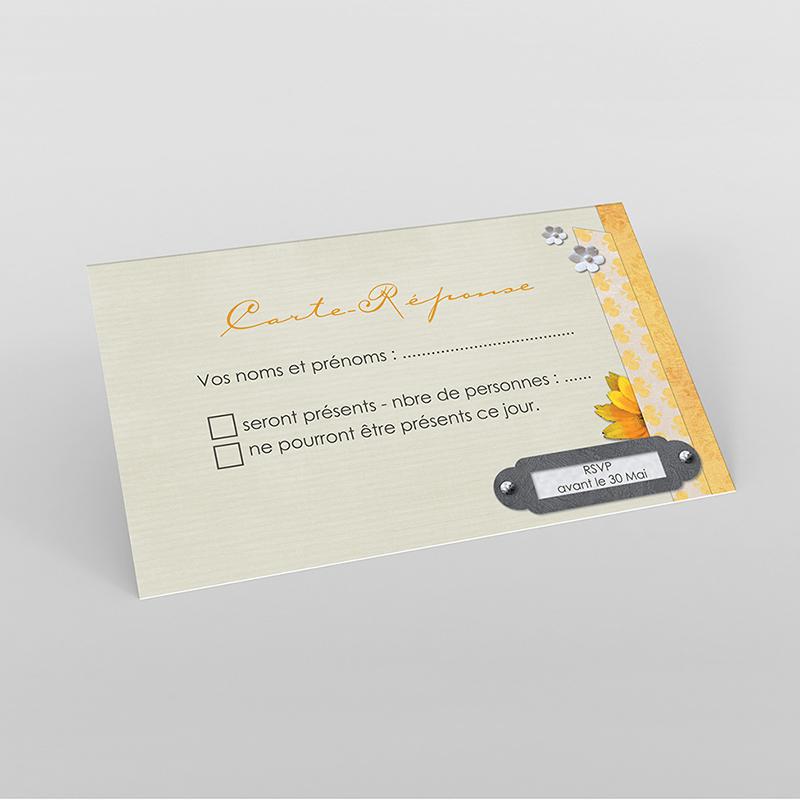 Carton réponse mariage Scrap'jaune