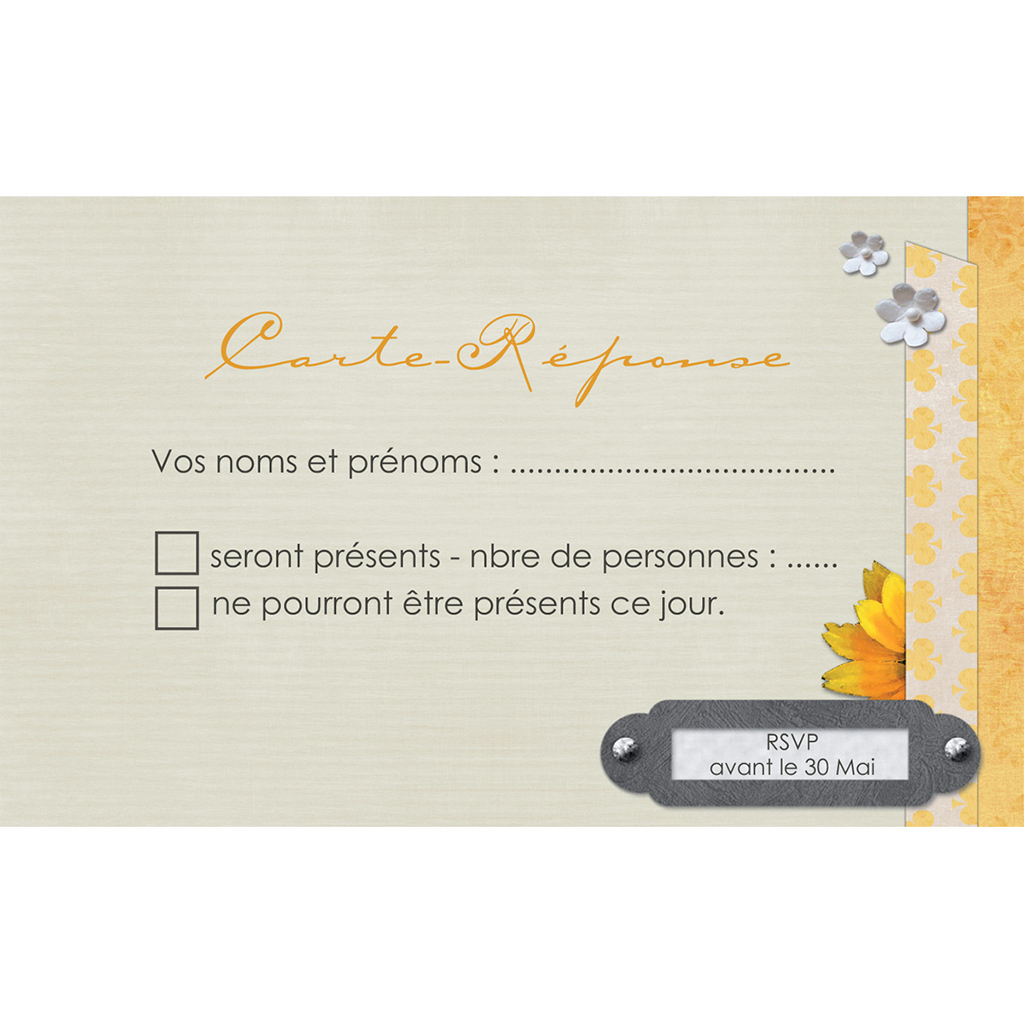 Carton réponse mariage Scrap'jaune  pas cher