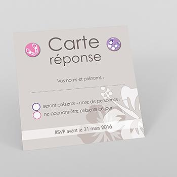 Carton réponse mariage Hibiscus