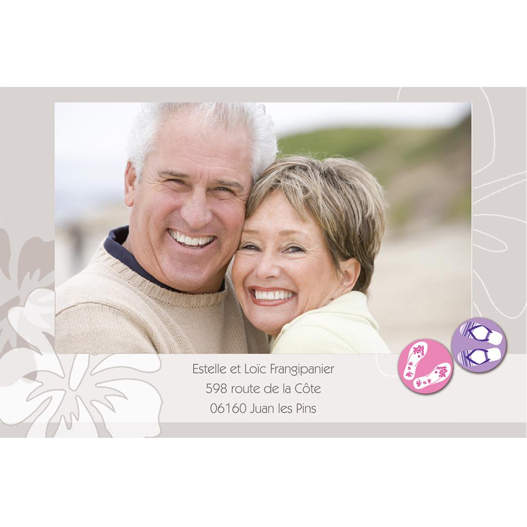 Carte anniversaire de mariage Hibiscus  gratuit