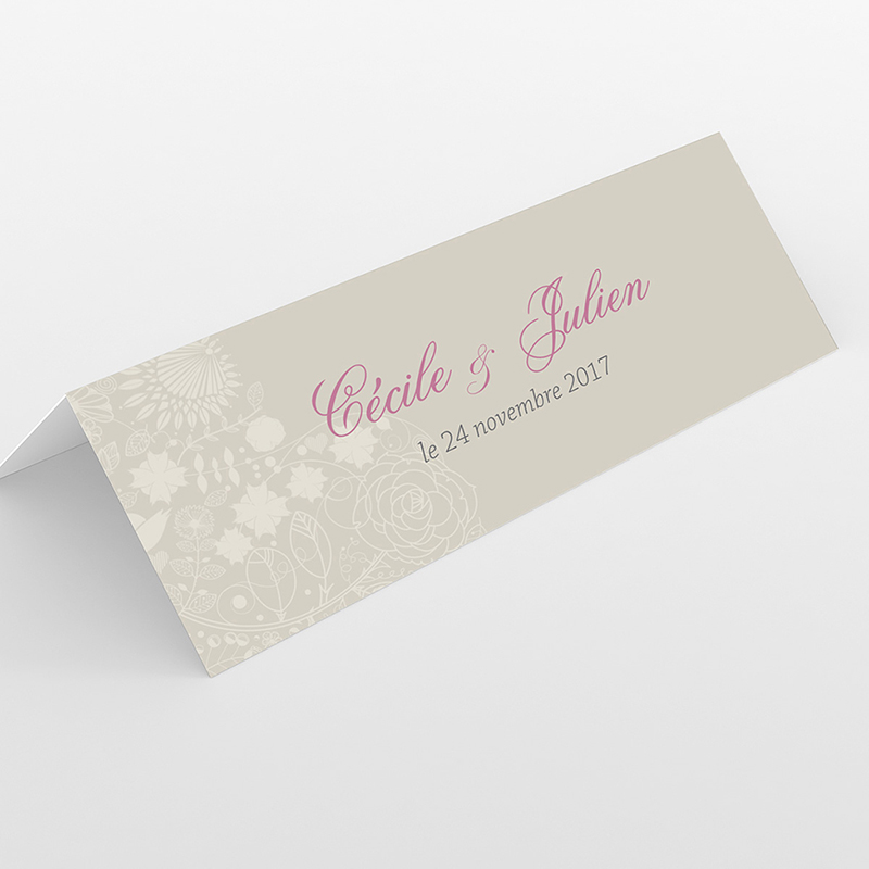 Marque-place mariage Mariage ivoire coeur