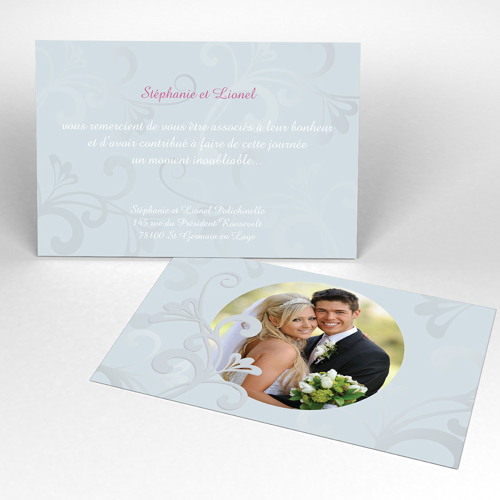 Carte de remerciement mariage Volutes