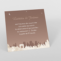 Carte d'invitation mariage Paris sépia