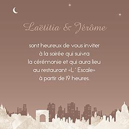 Carte d'invitation mariage Paris sépia pas cher