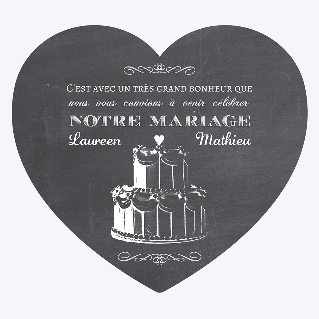 Faire-part de mariage Wedding cake ardoise pas cher
