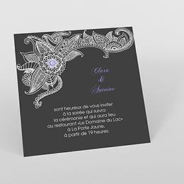 Carte d'invitation mariage Flora améthyste
