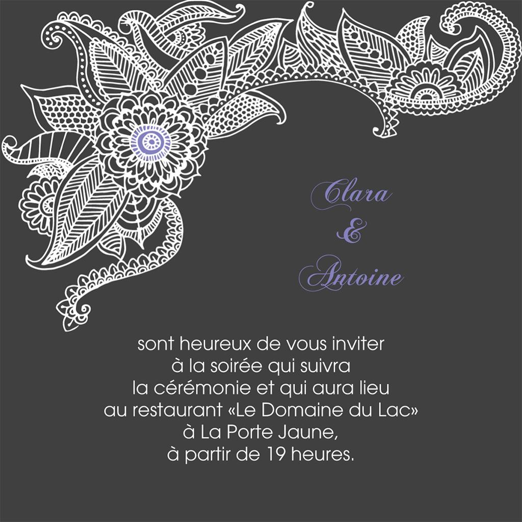 Carte d'invitation mariage Flora améthyste  pas cher