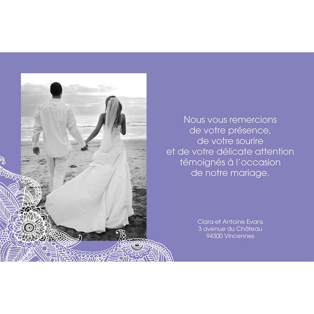 Carte de remerciement mariage Flora améthyste  gratuit