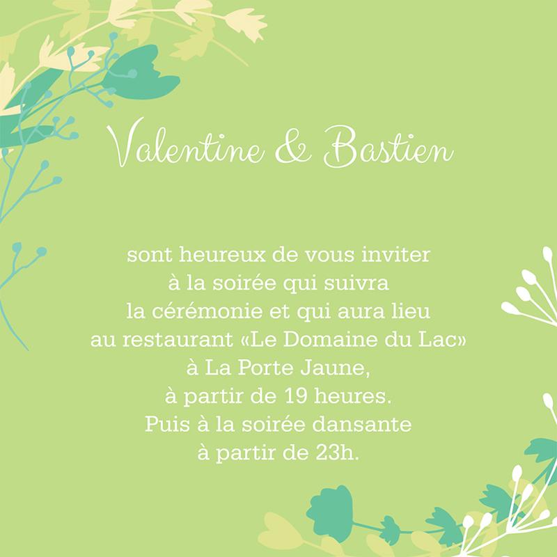 Carte d'invitation mariage Tourbillon de printemps pas cher