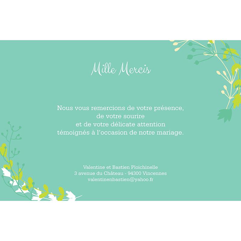 Carte de remerciement mariage Tourbillon de printemps gratuit