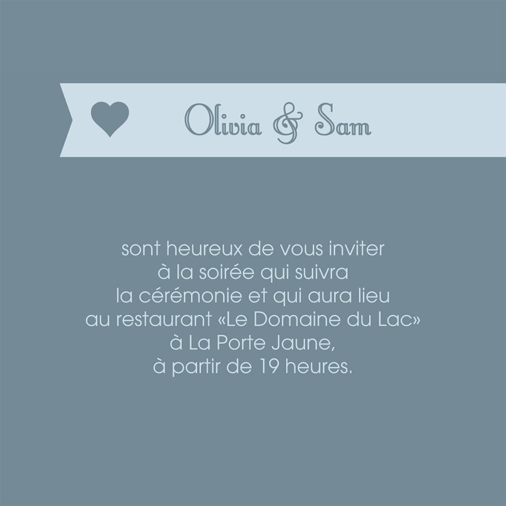 Carte d'invitation mariage Mille fois oui gris pas cher